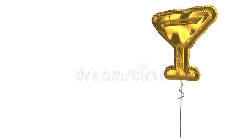 Gold balloon symbol of glass martini  on white background. 3d rendering of gold balloon shaped as symbol of full martini glass isolated on white background with royalty free illustration