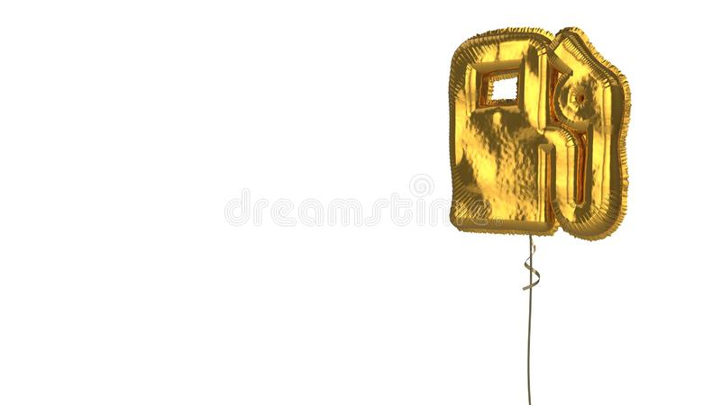 Gold balloon symbol of gas station on white background. 3d rendering of gold balloon shaped as symbol of gas pump station isolated on white background with royalty free illustration