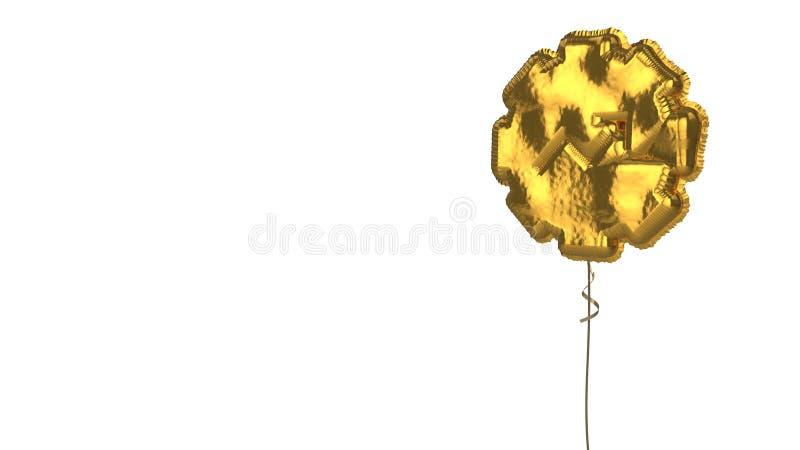 Gold balloon symbol of gear  on white background. 3d rendering of gold balloon shaped as symbol of gear chart arrow isolated on white background with ribbon stock illustration