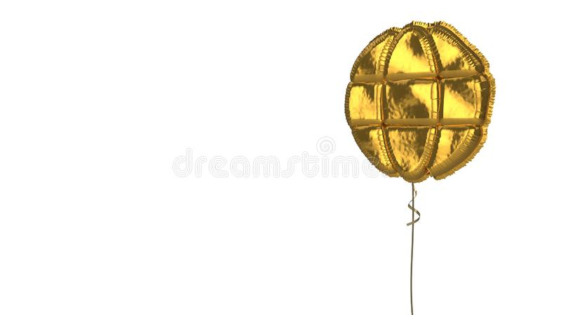 Gold balloon symbol of globe on white background. 3d rendering of gold balloon shaped as symbol of geographic globe isolated on white background with ribbon vector illustration
