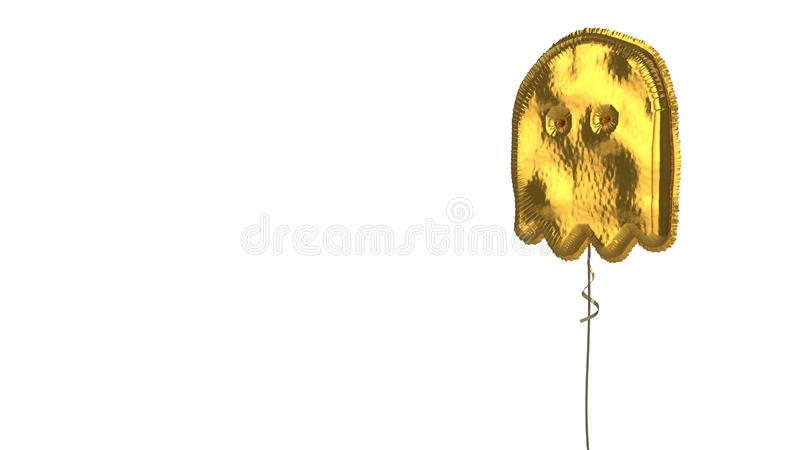 Gold balloon symbol of ghost on white background. 3d rendering of gold balloon shaped as symbol of ghost isolated on white background with ribbon royalty free illustration