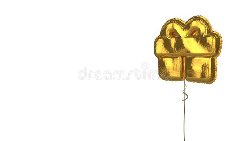 Gold balloon symbol of gift on white background. 3d rendering of gold balloon shaped as symbol of gift with bow isolated on white background with ribbon stock illustration