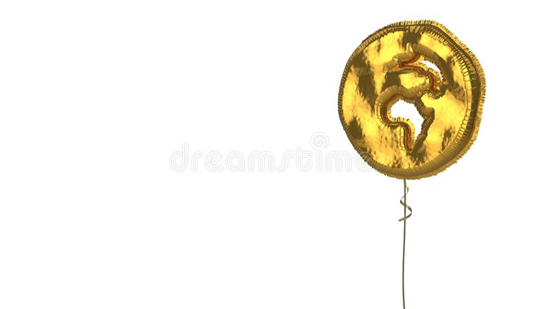Gold balloon symbol of globe Africa on white background. 3d rendering of gold balloon shaped as symbol of globe with Africa continent isolated on white vector illustration