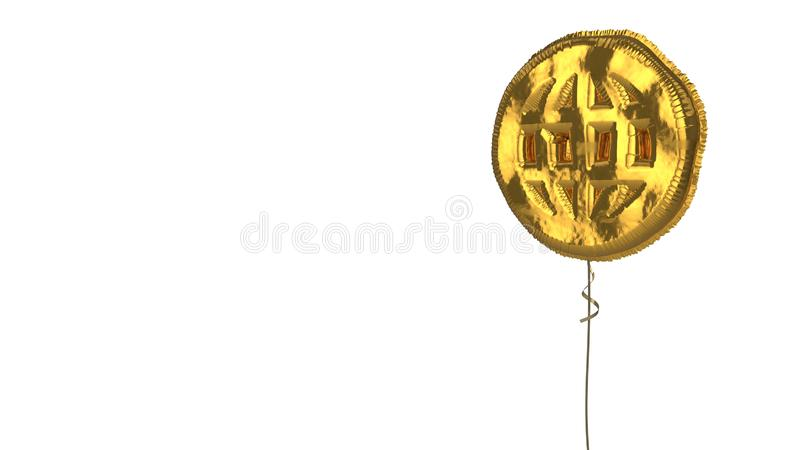 Gold balloon symbol of internet on white background. 3d rendering of gold balloon shaped as symbol of globe net isolated on white background with ribbon vector illustration