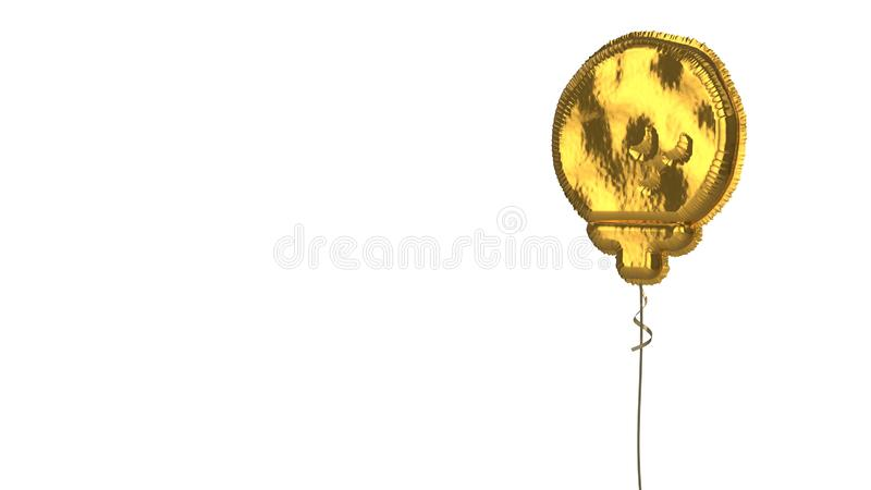 Gold balloon symbol of golf ball on white background. 3d rendering of gold balloon shaped as symbol of golf ball on stand isolated on white background with stock illustration