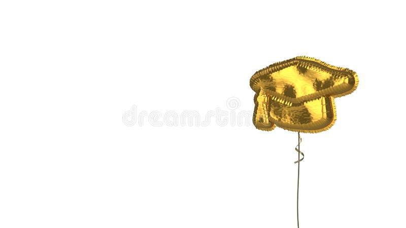 Gold balloon symbol of graduation cap on white background. 3d rendering of gold balloon shaped as symbol of graduation cap isolated on white background with vector illustration