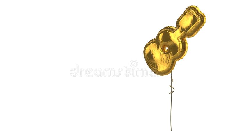 Gold balloon symbol of guitar on white background. 3d rendering of gold balloon shaped as symbol of guitar instrument isolated on white background with ribbon stock illustration
