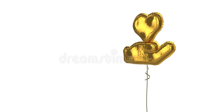 Gold balloon symbol of hand holding heart on white background. 3d rendering of gold balloon shaped as symbol of hand holding heart isolated on white background vector illustration