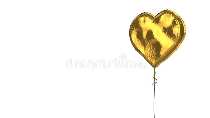 Gold balloon symbol of like  on white background. 3d rendering of gold balloon shaped as symbol of heart isolated on white background with ribbon royalty free illustration