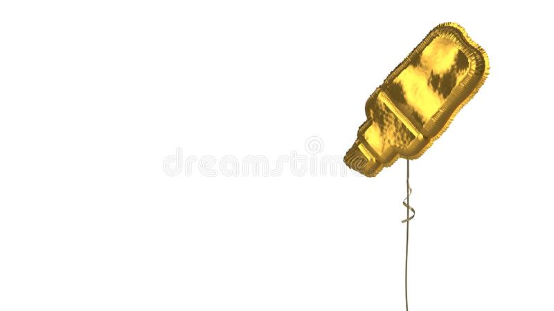 Gold balloon symbol of highlighter on white background. 3d rendering of gold balloon shaped as symbol of highlighter marker isolated on white background with vector illustration