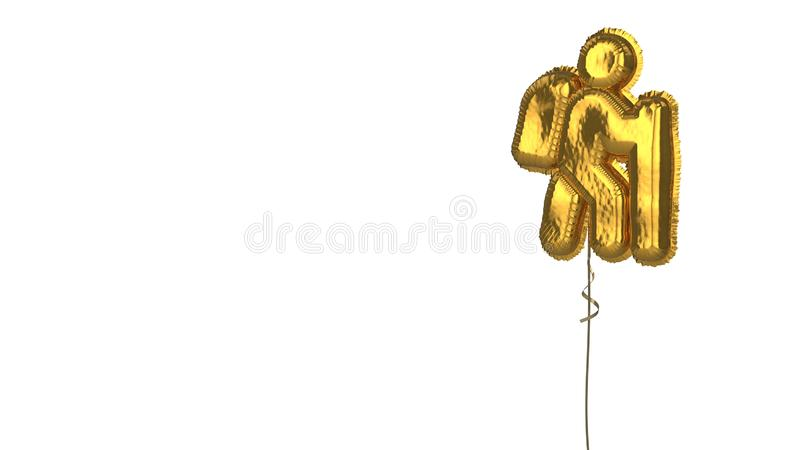 Gold balloon symbol of hiking on white background. 3d rendering of gold balloon shaped as symbol of hiking person isolated on white background with ribbon stock illustration
