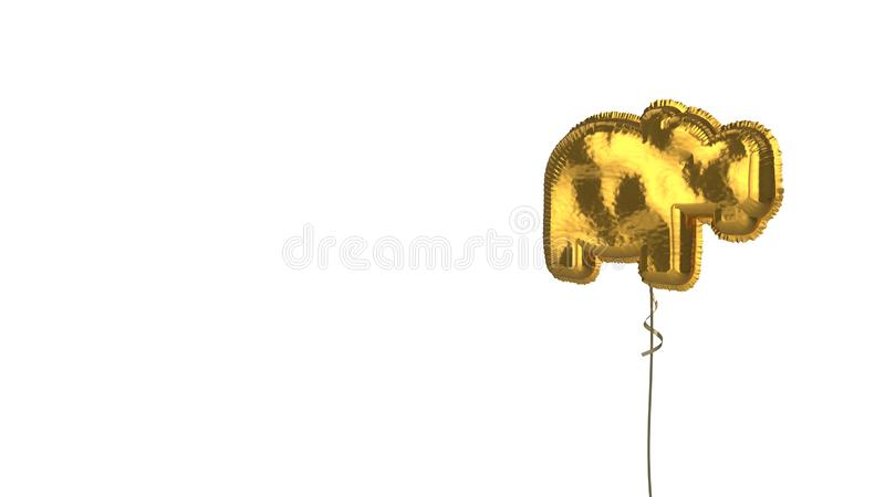 Gold balloon symbol of hippo on white background. 3d rendering of gold balloon shaped as symbol of hippo from profile isolated on white background with ribbon royalty free illustration