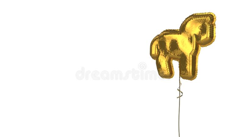 Gold balloon symbol of horse on white background. 3d rendering of gold balloon shaped as symbol of horse from profile isolated on white background with ribbon royalty free illustration