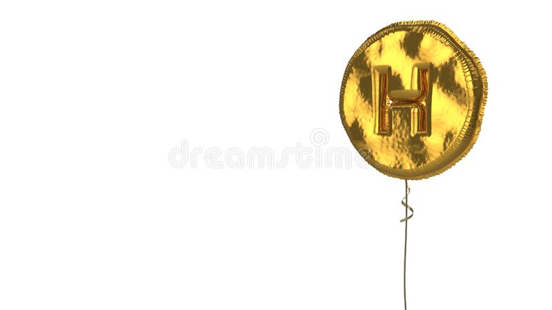 Gold balloon symbol of hospital symbol on white background. 3d rendering of gold balloon shaped as symbol of hospital heliport isolated on white background with stock illustration