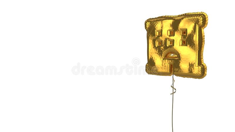 Gold balloon symbol of hotel on white background. 3d rendering of gold balloon shaped as symbol of hotel building isolated on white background with ribbon stock illustration
