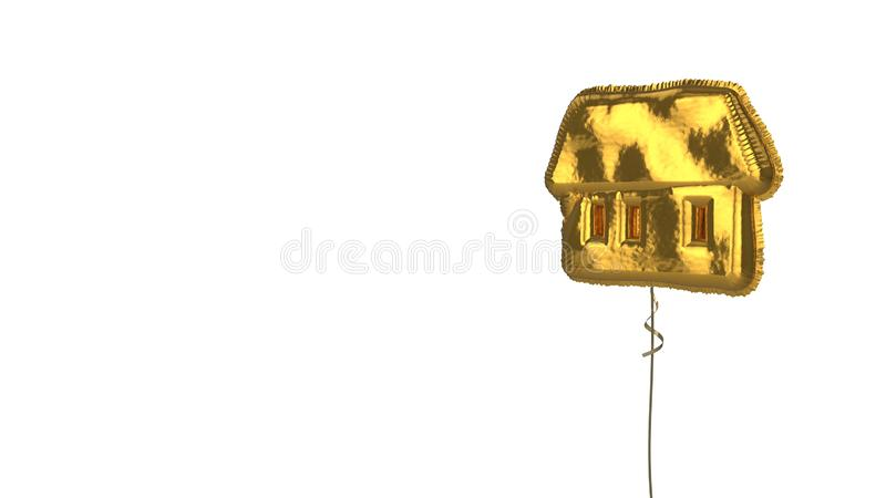 Gold balloon symbol of house  on white background. 3d rendering of gold balloon shaped as symbol of house with three big windows isolated on white background royalty free illustration