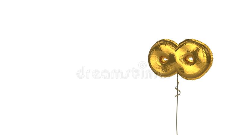 Gold balloon symbol of infinity on white background. 3d rendering of gold balloon shaped as symbol of infinity sign isolated on white background with ribbon stock illustration