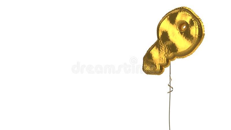 Gold balloon symbol of key on white background. 3d rendering of gold balloon shaped as symbol of key isolated on white background with ribbon stock illustration
