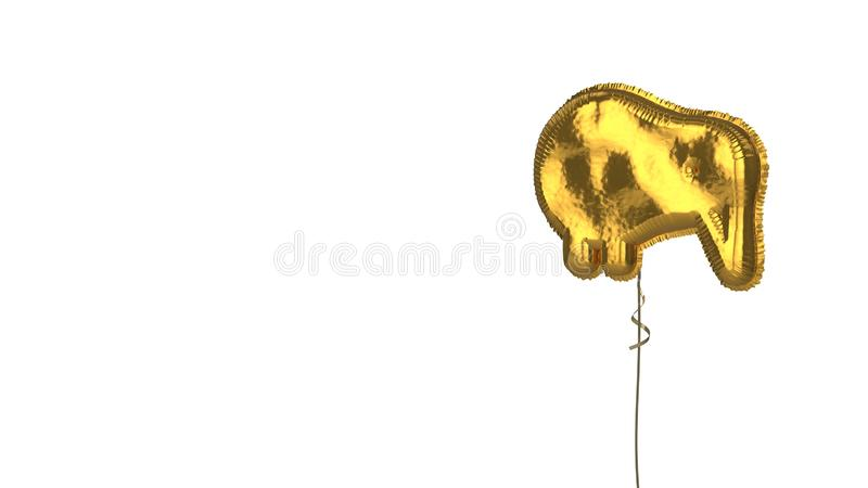 Gold balloon symbol of kiwi bird on white background. 3d rendering of gold balloon shaped as symbol of kiwi bird isolated on white background with ribbon vector illustration