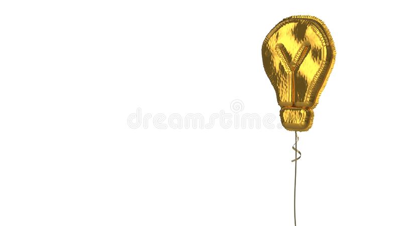 Gold balloon symbol of light bulb on white background. 3d rendering of gold balloon shaped as symbol of light bulb isolated on white background with ribbon stock illustration