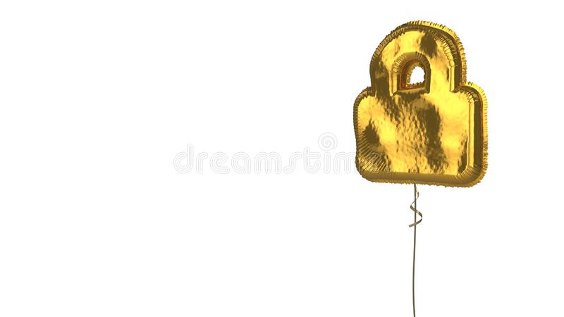 Gold balloon symbol of lock on white background. 3d rendering of gold balloon shaped as symbol of lock isolated on white background with ribbon royalty free illustration