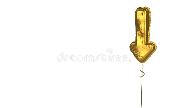 Gold balloon symbol of long arrow down on white background. 3d rendering of gold balloon shaped as symbol of long down arrow isolated on white background with vector illustration