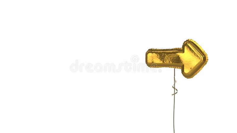 Gold balloon symbol of long arrow right on white background. 3d rendering of gold balloon shaped as symbol of long right arrow isolated on white background with stock illustration