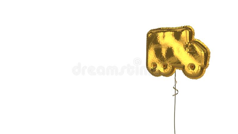 Gold balloon symbol of truck moving on white background. 3d rendering of gold balloon shaped as symbol of moving truck  isolated on white background with ribbon royalty free illustration