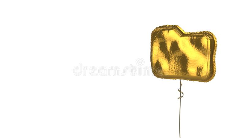 Gold balloon symbol of folder on white background. 3d rendering of gold balloon shaped as symbol of office folder isolated on white background with ribbon vector illustration