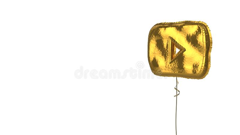 Gold balloon symbol of YouTube logo on white background. 3d rendering of gold balloon shaped as symbol of online youtube music player logo isolated on white vector illustration