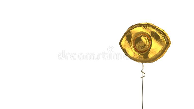 Gold balloon symbol of visibility button on white background. 3d rendering of gold balloon shaped as symbol of open eye isolated on white background with ribbon stock illustration
