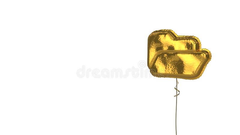 Gold balloon symbol of folder open on white background. 3d rendering of gold balloon shaped as symbol of open folder isolated on white background with ribbon stock illustration