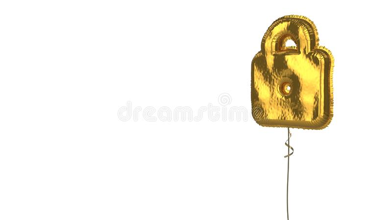 Gold balloon symbol of web  on white background. 3d rendering of gold balloon shaped as symbol of padlock isolated on white background with ribbon vector illustration