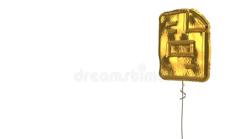 Gold balloon symbol of file invoice on white background. 3d rendering of gold balloon shaped as symbol of paper with bent corner and text isolated on white vector illustration