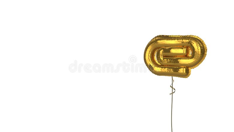 Gold balloon symbol of interface on white background. 3d rendering of gold balloon shaped as symbol of paper clip   isolated on white background with ribbon stock illustration
