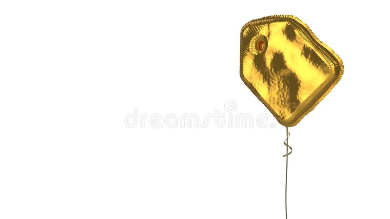 Gold balloon symbol of tag on white background. 3d rendering of gold balloon shaped as symbol of paper label isolated on white background with ribbon stock illustration