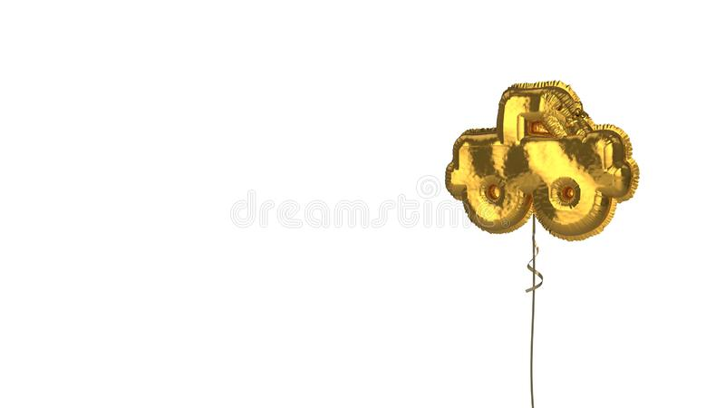 Gold balloon symbol of truck pickup on white background. 3d rendering of gold balloon shaped as symbol of pickup truck isolated on white background with ribbon vector illustration