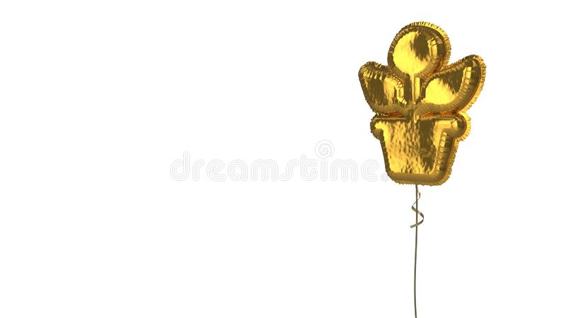 Gold balloon symbol of growth on white background. 3d rendering of gold balloon shaped as symbol of plant in pot isolated on white background with ribbon stock illustration