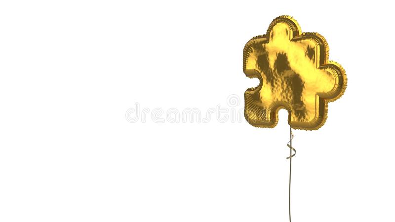 Gold balloon symbol of interface on white background. 3d rendering of gold balloon shaped as symbol of puzzle piece isolated on white background with ribbon stock illustration