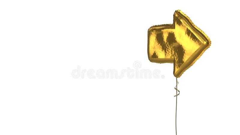 Gold balloon symbol of forward right arrow button on white background. 3d rendering of gold balloon shaped as symbol of right arrow isolated on white background vector illustration