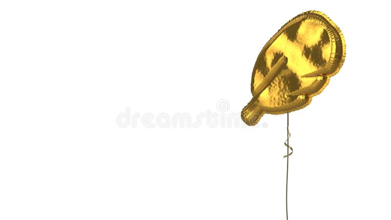 Gold balloon symbol of feather on white background. 3d rendering of gold balloon shaped as symbol of rounded feather isolated on white background with ribbon vector illustration