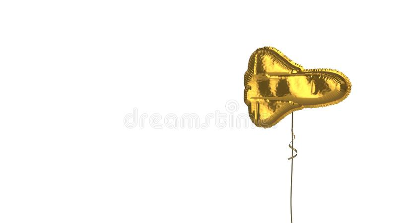Gold balloon symbol of space shuttle on white background. 3d rendering of gold balloon shaped as symbol of space shuttle isolated on white background with ribbon stock illustration