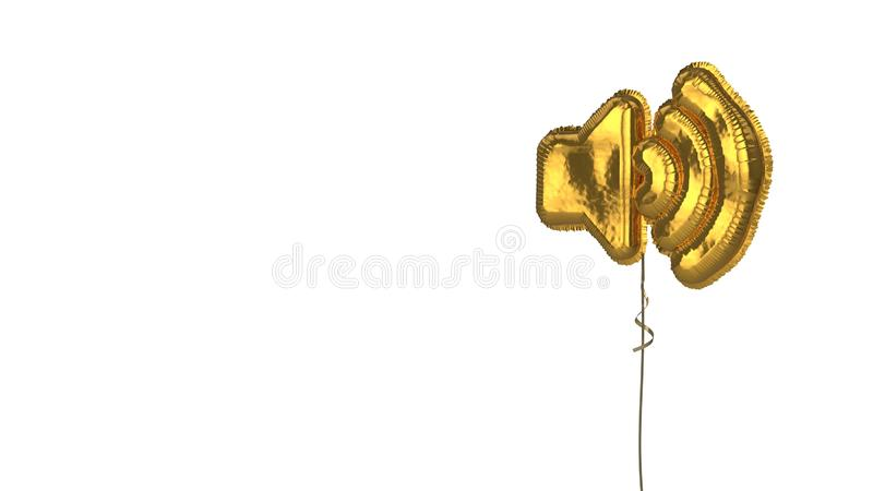 Gold balloon symbol of volume up on white background. 3d rendering of gold balloon shaped as symbol of speaker high isolated on white background with ribbon stock illustration