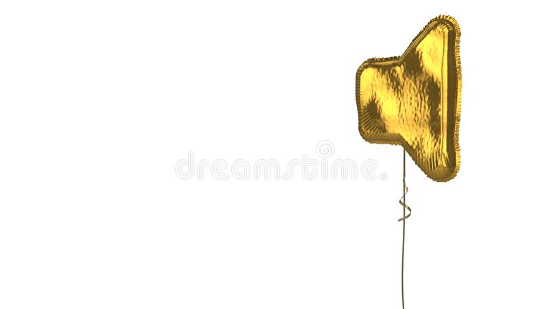 Gold balloon symbol of volume off on white background. 3d rendering of gold balloon shaped as symbol of speaker off isolated on white background with ribbon royalty free illustration