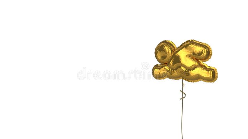 Gold balloon symbol of swimmer on white background. 3d rendering of gold balloon shaped as symbol of swimmer isolated on white background with ribbon vector illustration