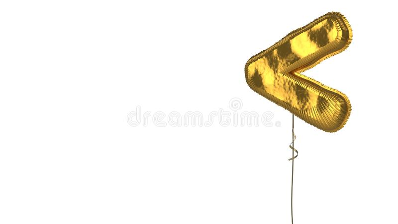 Gold balloon symbol of less than on white background. 3d rendering of gold balloon shaped as symbol of less than mark isolated on white background with ribbon vector illustration