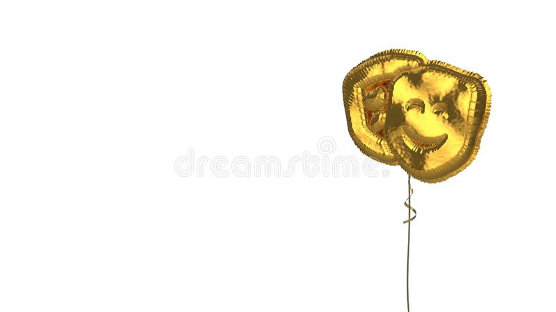 Gold balloon symbol of theater masks on white background. 3d rendering of gold balloon shaped as symbol of theater masks isolated on white background with ribbon stock illustration