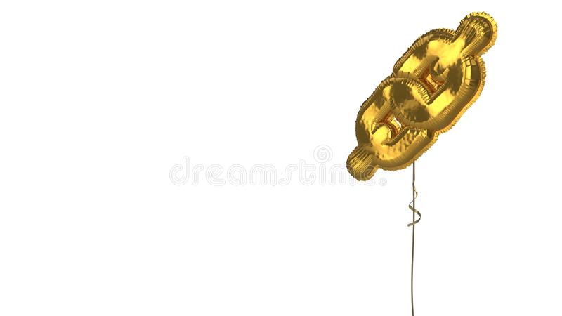 Gold balloon symbol of link  on white background. 3d rendering of gold balloon shaped as symbol of thick chain isolated on white background with ribbon royalty free illustration
