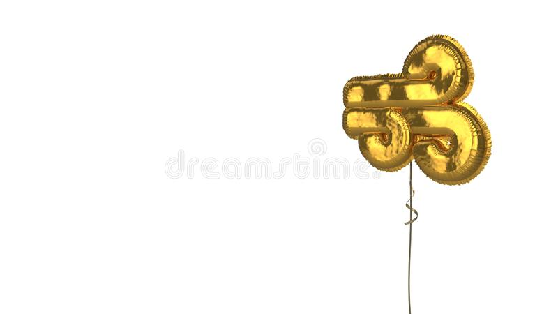 Gold balloon symbol of wind on white background. 3d rendering of gold balloon shaped as symbol of three wind lines isolated on white background with ribbon royalty free illustration