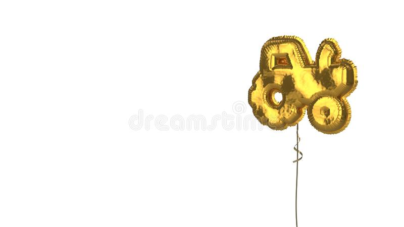 Gold balloon symbol of tractor on white background. 3d rendering of gold balloon shaped as symbol of tractor isolated on white background with ribbon stock illustration